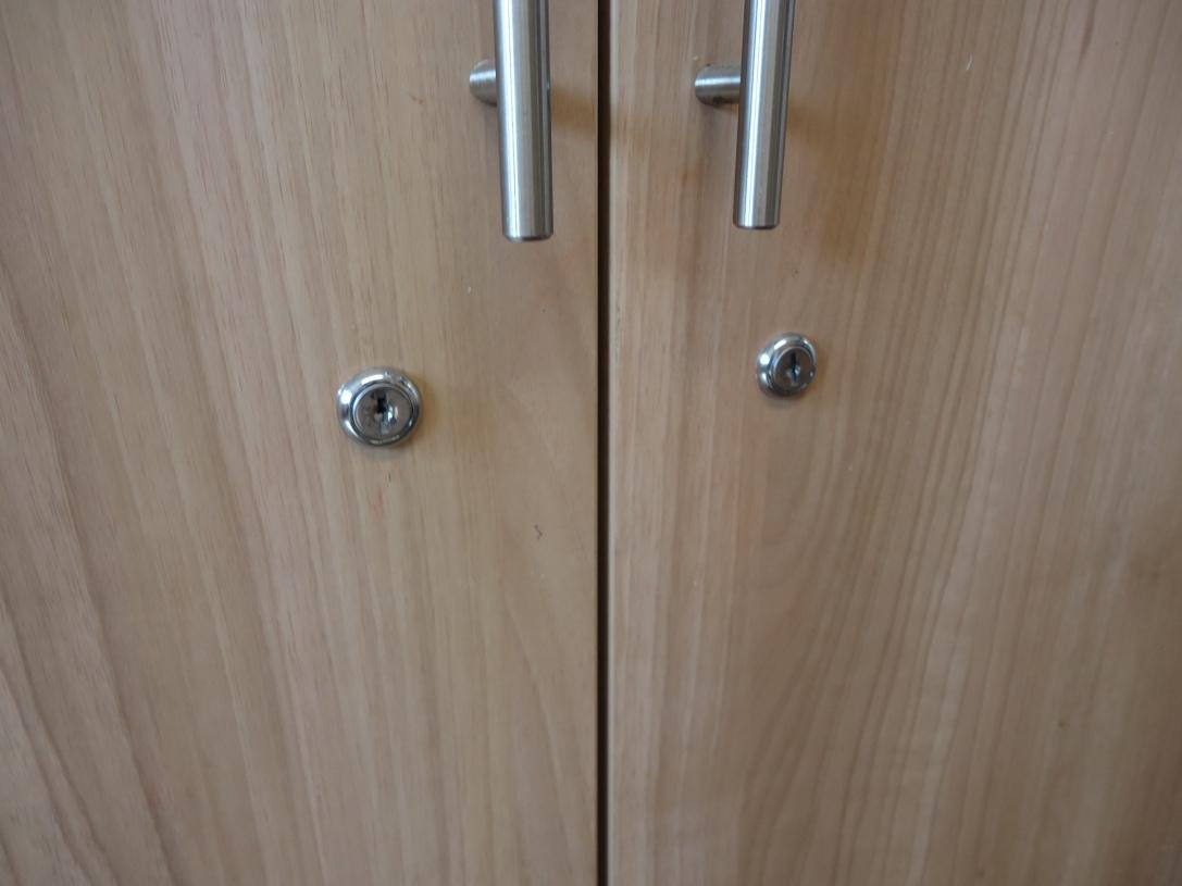 New locks installed to kitchen cabinets
